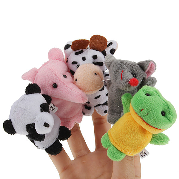 10pcs Zoo Farm Animal Finger Puppets Plush Cloth Toys For Bed Story