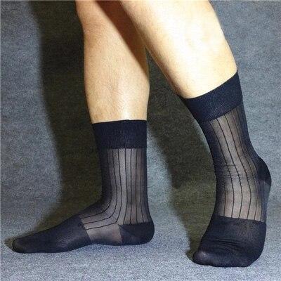 Fashion Men Socks Striped See Through Formal Dress Suit Socks Hose Gay Stocking Male Gay Socks Black Stripes Elasticity Socks
