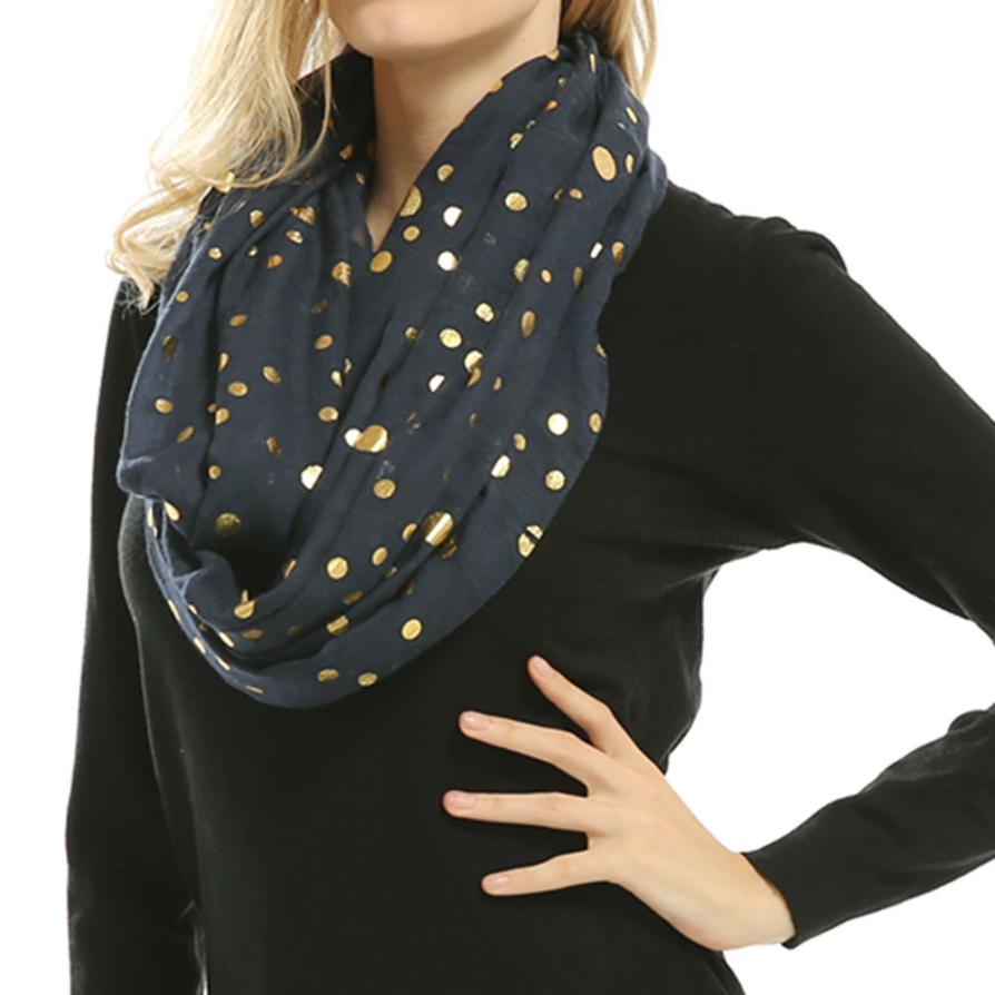 Ladies polka dot bib Lady Women Soft Warm Bronzing Dots Print Neck   Scarf     Wrap     Scarves   Muffler echarpes foulards femme sjaal