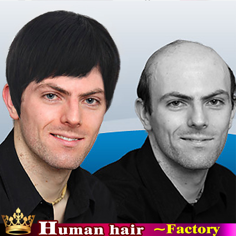 Handsome Fluffy Mens Human Real Hair Wigs Mono Lace Toupe Full Bang Short Straight Human Black Hair Replacements For Men Wig In Mens Costumes From Novelty