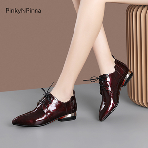 Image 5 - office ladies patent leather shining aligator pattern metallic low heels ruffles women commuter summer autumn Oxford chic shoes