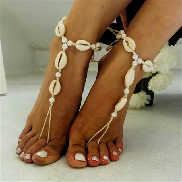 MissCyCy Fashion Natural Shell Anklet Bohemian Simulated Pearl Ankle Bracelet for Women Summer Style Foot Jewelry Beach