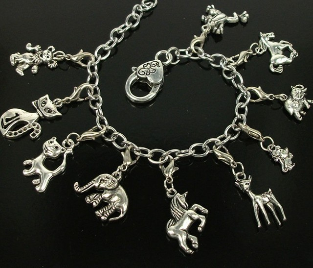 Vintage Silver Stainless Steel Chain Mixed Animal Horse Elephant Deer Charms Bracelet Bangle For Women Jewelry