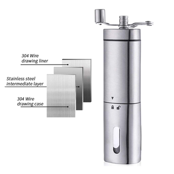 Manual Coffee Grinder - Premium Portable Stainless Steel Conical Ceramic Burr Mill With Quiet Grinding Mechanism, 40G Capacity 3