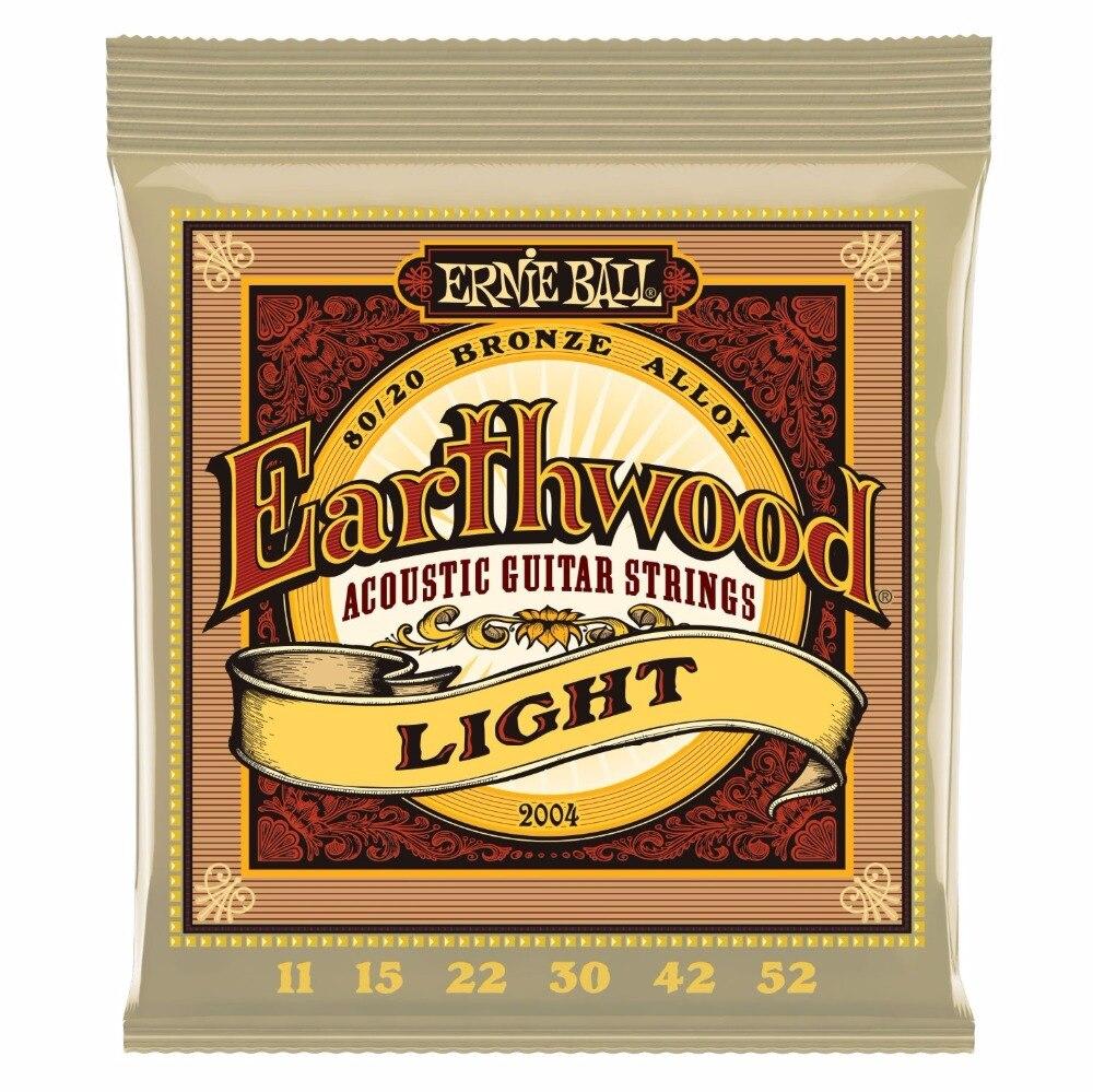 цены на Ernie Ball 2004 Earthwood 80/20 Bronze Light Acoustic Guitar Strings 11-52 в интернет-магазинах