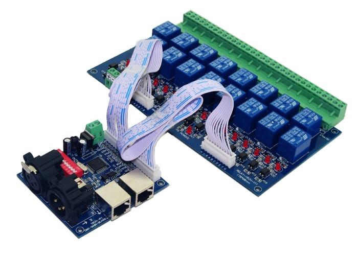16ЦХ ДМКС512 релејни регулатор 16 канала релејни декодер ДЦ12В улаз, сваки канал мак 10А