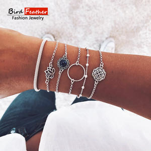 Silver color Bohemian Handmade Hollow Lotus Flower Bracelet Sets Women 2019 New Rope Chain Bracelets Retro Jewelry Accessories
