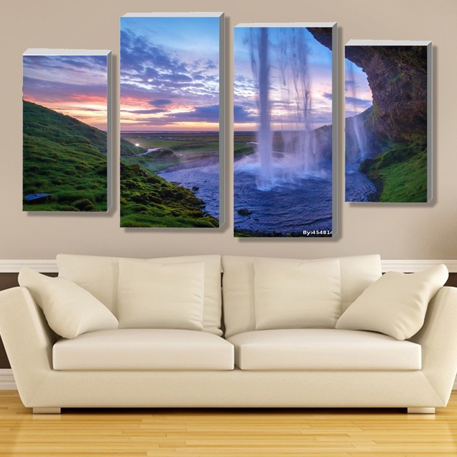 Modular Waterfall Wall Art Painting Iceland Sunset Contemporary Canvas Prints Picture Living Room 4