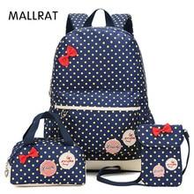 Mallrat девушка Школьные сумки для подростков рюкзак комплект Для женщин плеча Дорожные сумки 3 шт./компл. рюкзак Mochila ранец