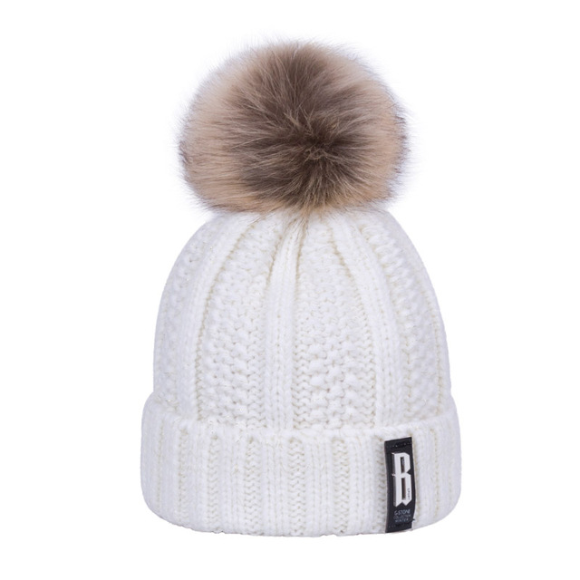 55d702085b4 Aliexpress.com   Buy 2018 New Pom Poms Women s Winter Hat Fashion Solid  Plus Fleece Warm Hat Knitted Hat Hooded Cap Thick Hoodie Wholesale from  Reliable ...