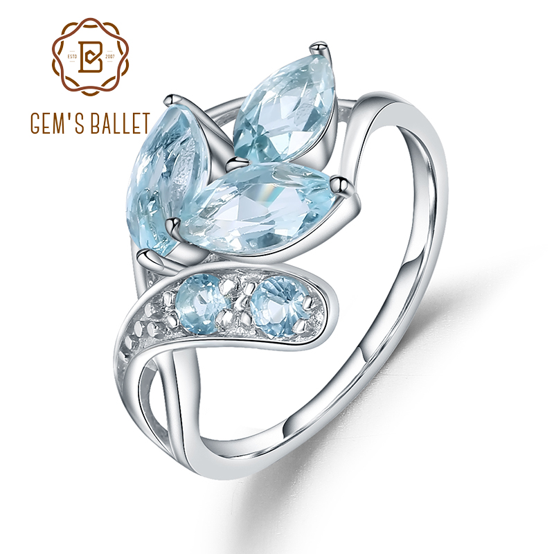 Gem's Ballet 925 Sterling Silver Sparkling LEAVES SILVER RING 2.4Ct Natural Sky Blue Topaz Gemstone Ring For Women Jewelry