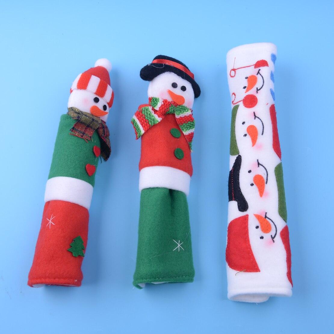 3PCSSET:  LETAOSK 3PCS/SET Christmas Xmas Snowman Santa Microwave Door Protective Refrigerator Handle Cover Kitchen Appliance Decoration - Martin's & Co