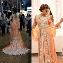New Arrival VERY FANCY KAFTANS  abaya jalabiya Orange DUBAI Ladies Long  Sleeve Embroidery Evening Dress 62e30c3b55fb