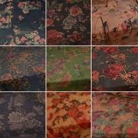 The persimmon tea color beautiful rose cotton wool chiffon fabric for dress qipao jacket hanfu