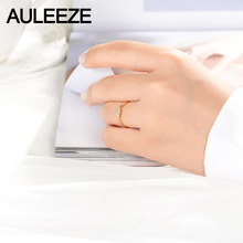 AULEEZE Bezel Set Real Diamond Ring 18K 750 Yellow Gold Natural Diamond Anniversary Wedding Ring For Women Gold Diamond Jewelry