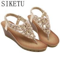 Size 35 40 New 2017 Fashion Flip Flops Summer Beach Shoes Woman Bohemia Style Rhinestones Wedges
