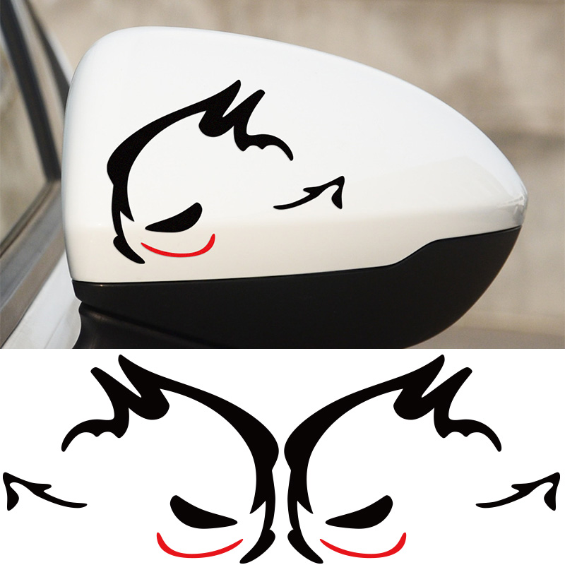 1 Pair Evil Rabbit GTI MTM Rearview Mirror Stickers Car-Styling for Volkswagen VW Beetle polo golf CC Touareg Tiguan Passat