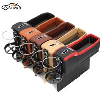 Universal Car Seat PU Leather Storage Box Catcher Gap Filler Coin Collector Cup Holder Left Driver