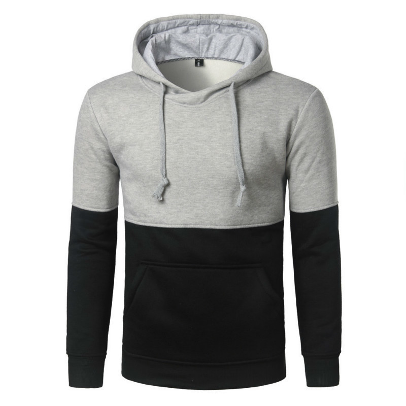 Autumn Winter New Stitching Contrast Color Men's Pullover Fashion Hoodie Men Casual Long Sleeve Hooded Slim Male Tops