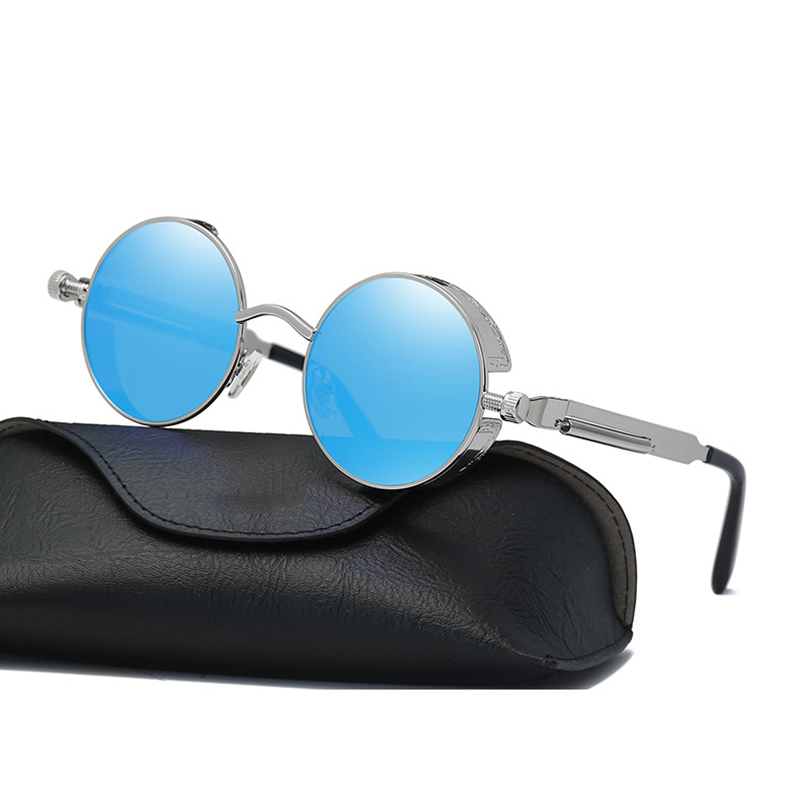 Classic Steampunk Sunglasses Stylish Round Metal Sun Glasses For Men and Women Summer Cool Shade Holiday Eyewear WD0914-5