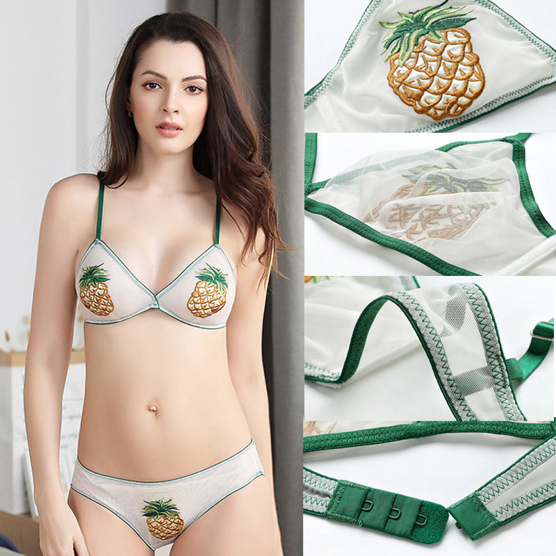 Fashion Bralette Transparent Woman Bra Embroidery Strawberry Pineapple Shell Chrysanthemum Personality Sexy Beach Holiday in Bras from Underwear Sleepwears