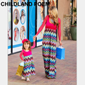 2016 весна осень семьи сопоставления одежда с длинным рукавом мать и дочь платья мода макси платье мать дочь одежда
