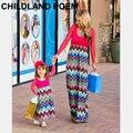 2016 primavera outono família combinando roupas de manga comprida mãe e filha vestidos de moda maxi vestido de mãe e filha roupas