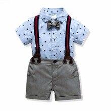 Прямая поставка, Детская рубашка с отложным воротником для маленьких мальчиков костюм из 2 предметов костюм для малышей с галстуком-бабочкой комплект одежды на подтяжках для джентльмена на свадьбу