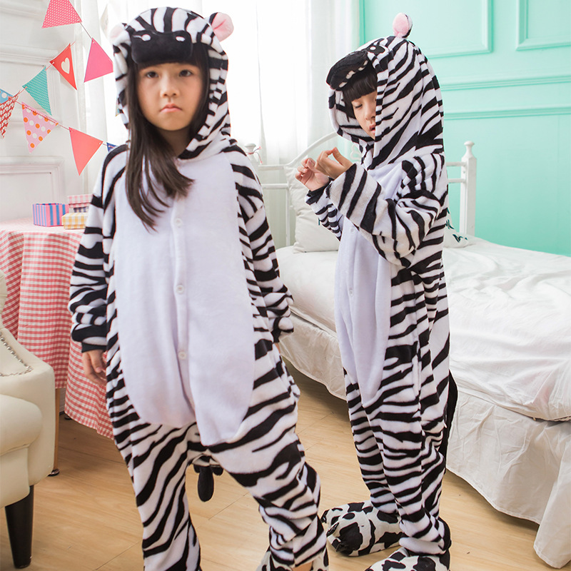 Zebra Overalls Jumpsuit Kid Pijama Flannel Winter Children Animal Costume Kigurumi Onesie Pijama Pockets Hip Zipper