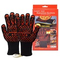 Wholesale Cooking Barbecue Gloves, Silicone Strip Barbecue Mitt , Triple Layered Protection Aramid Fiber BBQ Grilling Gloves.