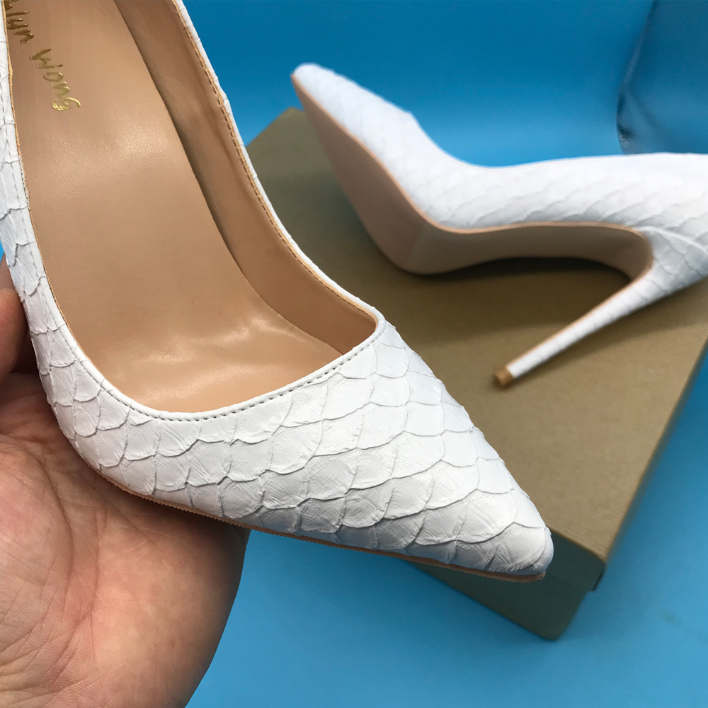 Pure White Snake Skin Design Women High Heels Pointed Toe Dress Shoes KW LC02