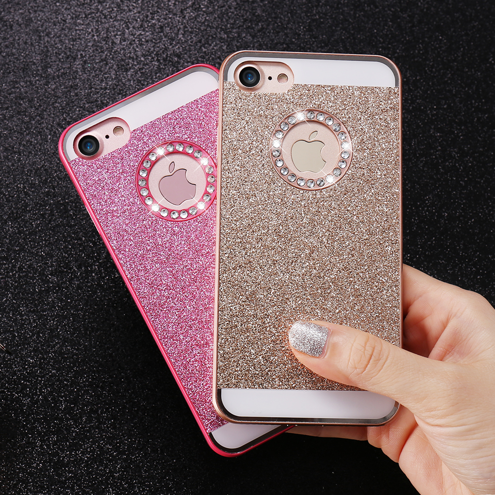Bling Iphone 6 7 Plus Cases Couqe Shiny Powder Phone Bag Iphone 5S SE 4 4S  Women ... b730440d21