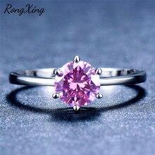 RongXing, шесть когтей, круглый камень по месяцу рождения, обручальные кольца для женщин, 925 пробы, заполненный серебром, розовый/зеленый/кольцо с голубым цирконом, простой подарок