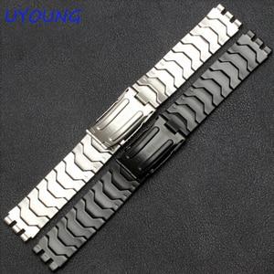Image 2 - Diamond Stainless Steel Bracelet for Swatch YCS410GX male 19mm Black Silver waterproof watch accessories