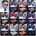 Paisley Floral Dot Silk Jacquard Woven Men bow tie, Wedding Butterfly Self Bow Tie Pocket Square Handkerchief Set Hanky Suit #D5