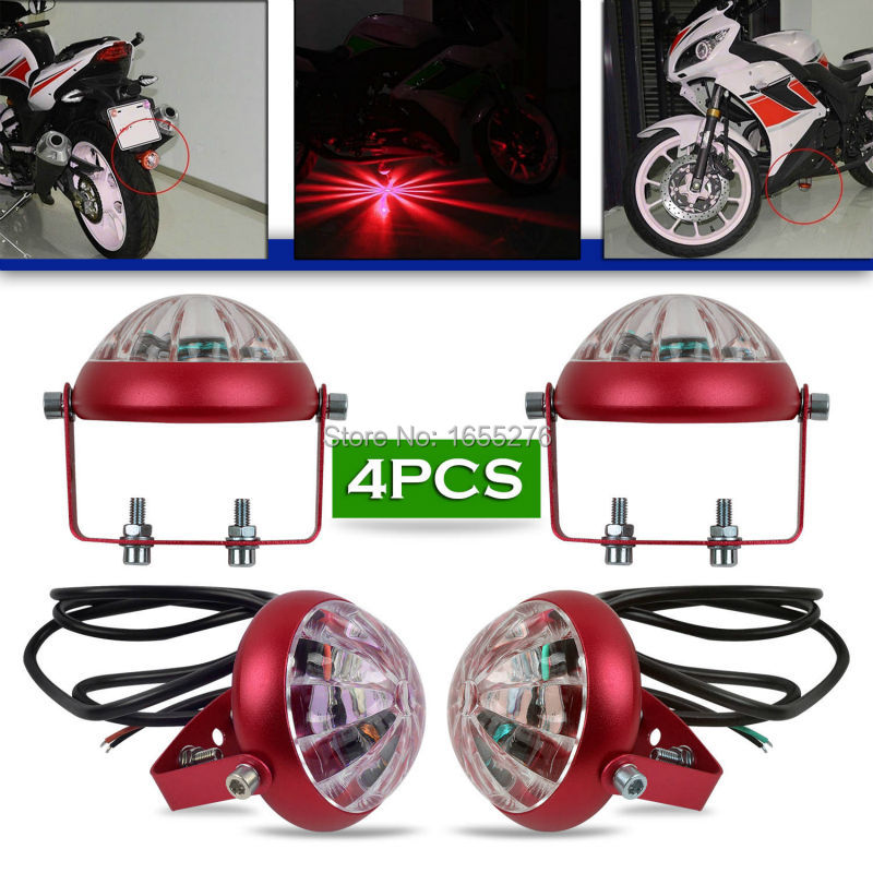 ФОТО Taitian 4PCS Motorcycle Red LED Decorative Strobe Flash Brake Tail Laser Warning Signal Light car light