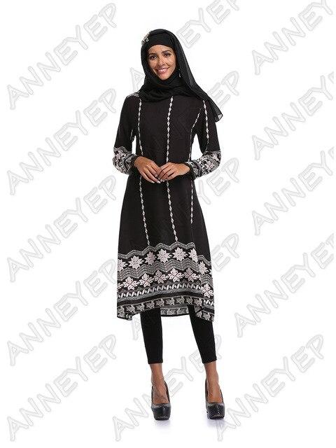 f12235a9e38af جديد 2017 أزياء المرأة المسلمة اللباس أبيض أسود الرجعية زهرة عباية إسلامية  الصيف الخريف فساتين مسلم