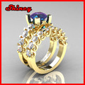 2014 new arrive pave AAA cubic zircon black gold 925 sterling silver red and black cz wedding ring,silver cz ring