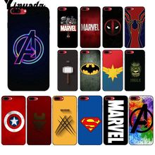 Yinuoda Marvel superhero logo Smart Cover Black Soft Shell Phone Case for iPhone 6S 6plus 7 7plus 8 8Plus X Xs MAX 5 5S XR