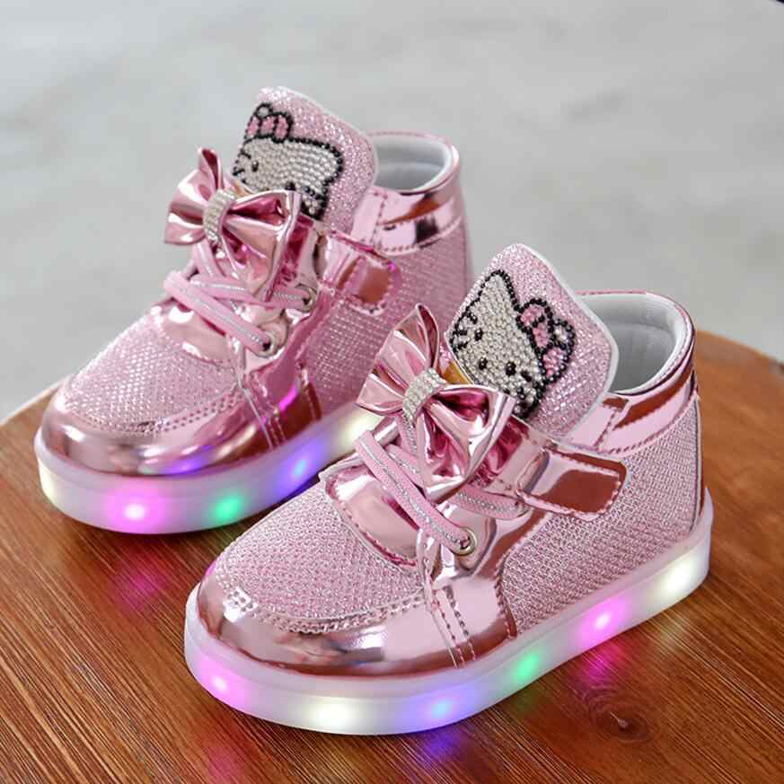d09873bee KKABBYII Children Shoes New Spring Hello Kitty Rhinestone Led Shoes Girls  Princess Cute Shoes With Light