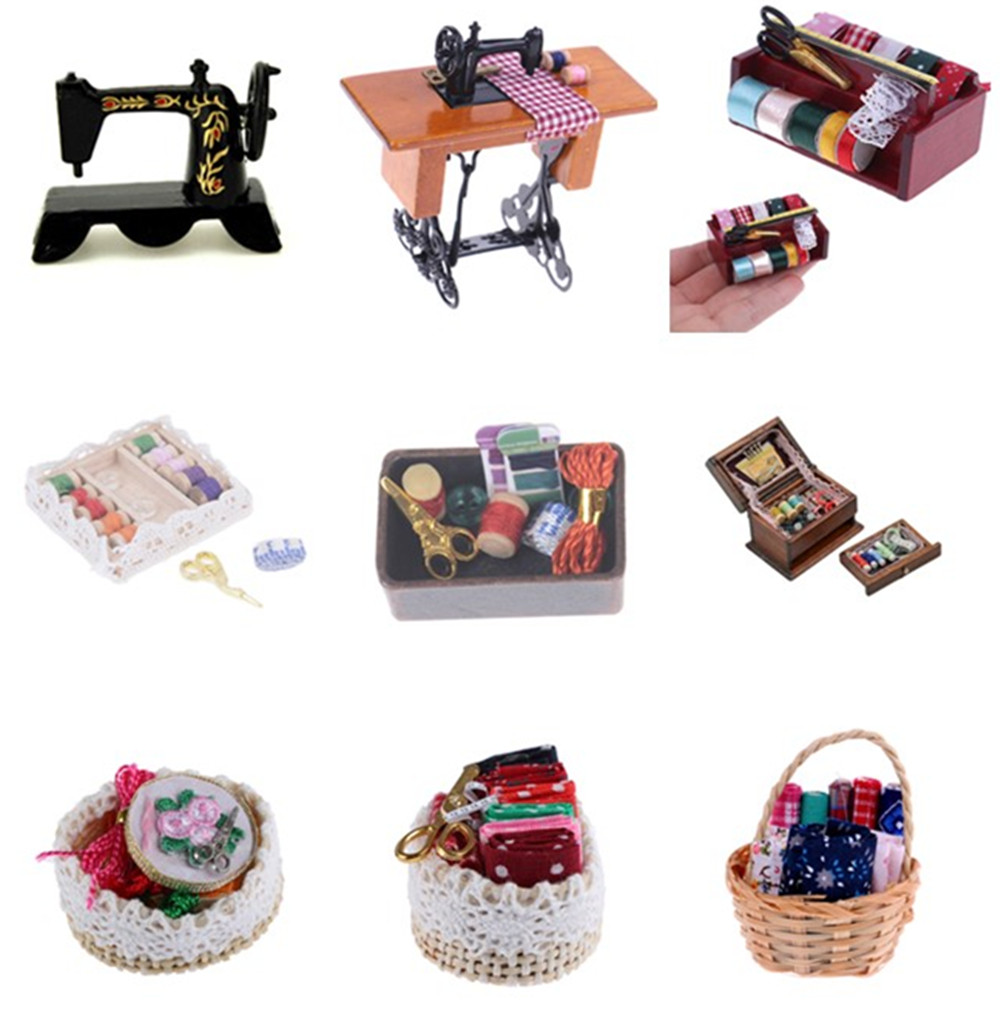 1:12 Miniature Vintage Sewing Box With Needle Scissors Kit Dollhouse Decoration Accessories Furniture Toys Kids Dollhouse Decor