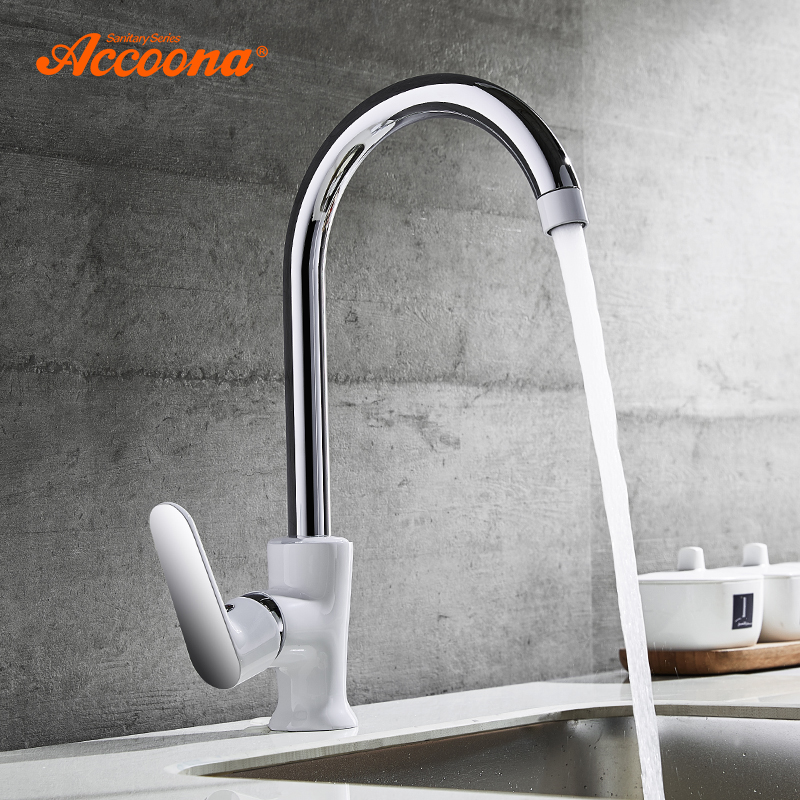 Accoona 360 Degree Rotation Kitchen Faucet Rule Shape Curved Outlet Pipe Single Holder 4 Color Tap Brass Sink Faucet A4566 1pcs dc 12 24v shaft high torque right worm gear motor speed reduction
