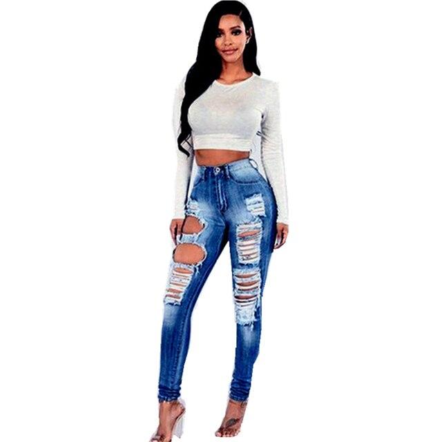 d73389348 2018 marca de moda nueva mujeres vaqueros Skinny de Denim agujero RIP lápiz  pantalones vaqueros de