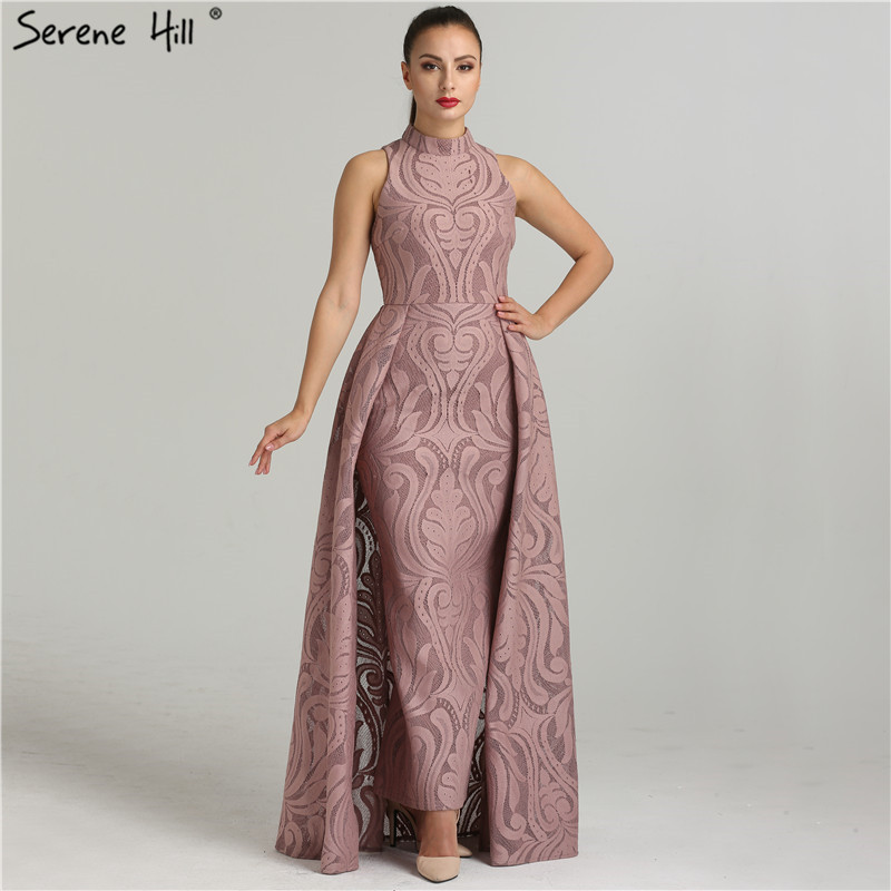 Fashion Mermaid High Collar Formal Evening Dresses Real Photo Sleeveless Sexy Womens Evening Gowns 2019 Serene Hill QA8004