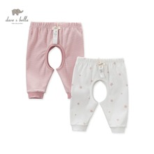 DB4628 dave bella autumn new born baby boys girls sleep bottoms star printed pajamas bottoms baby pink blue sleep bottoms