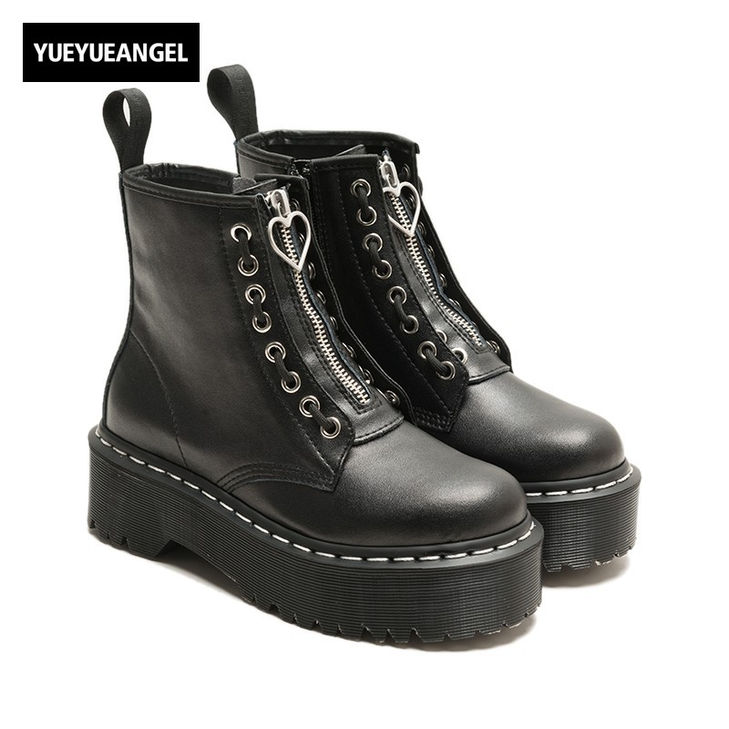 97f42d00f71 Punk Women Gothic Thick Platform Shoes Martin Boots Zip Motor Biker Leather Ankle  Boots Preppy Footwear