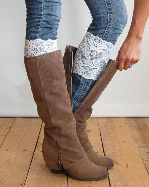 Del párrafo del otoño patrón de encaje encaje calcetines elásticos ...