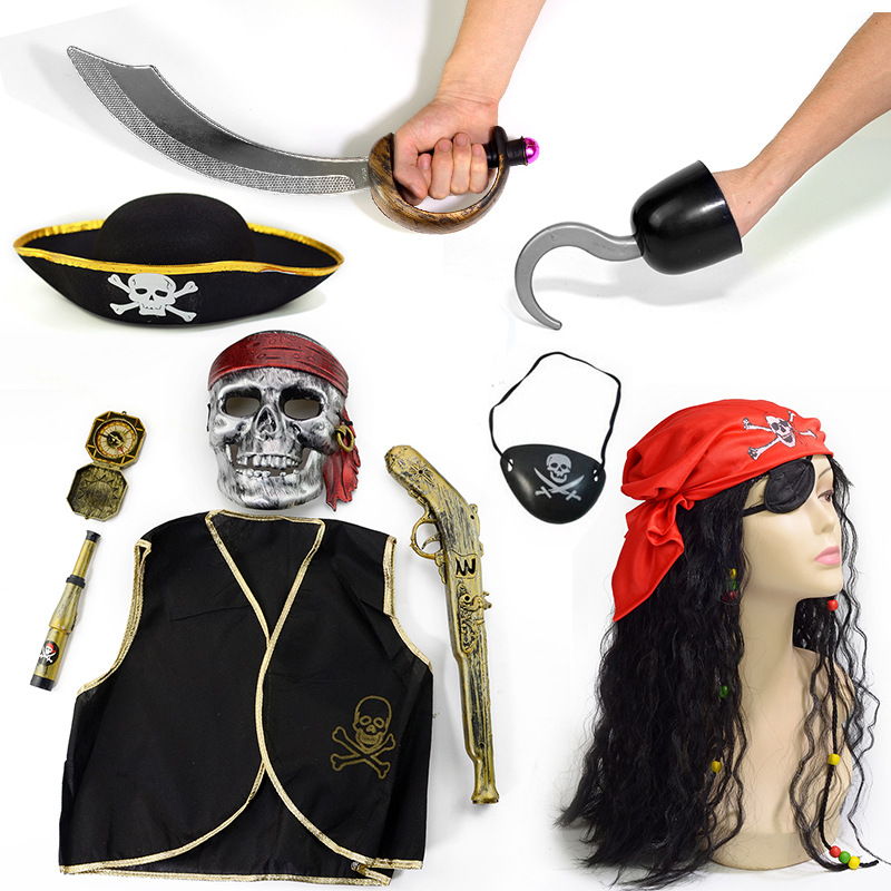 Kid Anime Cosplay for Pirates of the Caribbean Captain Flag Knife Set Vestidos Costumes for Children in Halloween Carnival Party