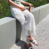 Plus Size Women's Long Pants Hollow Out Summer Cotton Linen Loose Wide Leg Pants High Waist Female Capris Pants Trousers Femme