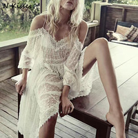 2018 Spring Long Sleeve Embroidery Lace Dress Off The Shoulder Spaghetti Strap Dress Beach Dress Holiday Dress